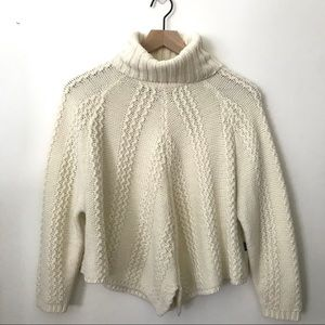 BCBGMaxAzria Cream Wool Blend Cropped Sweater OS